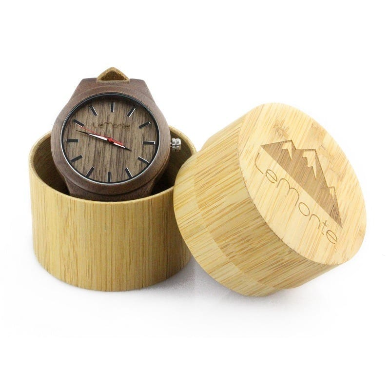 Brown walnut wood watch