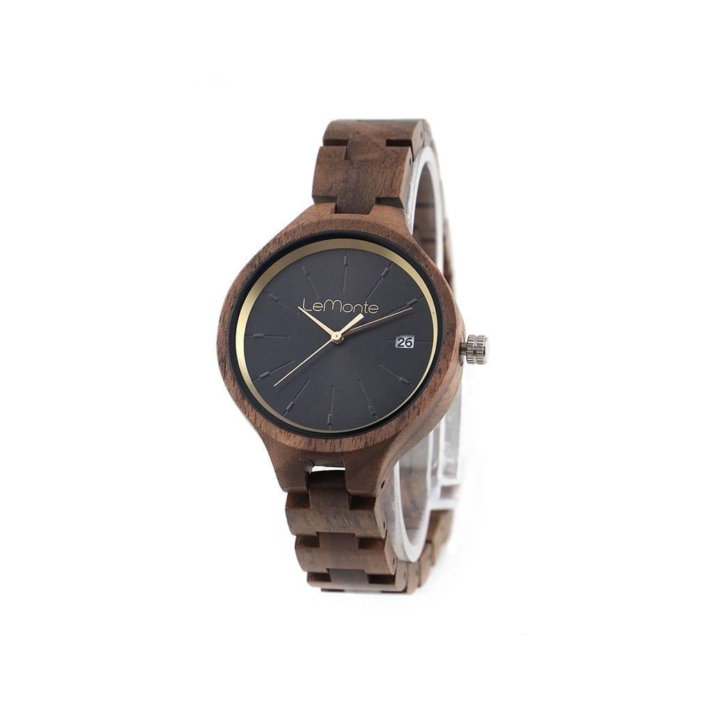 Reloj con correa articulada madera