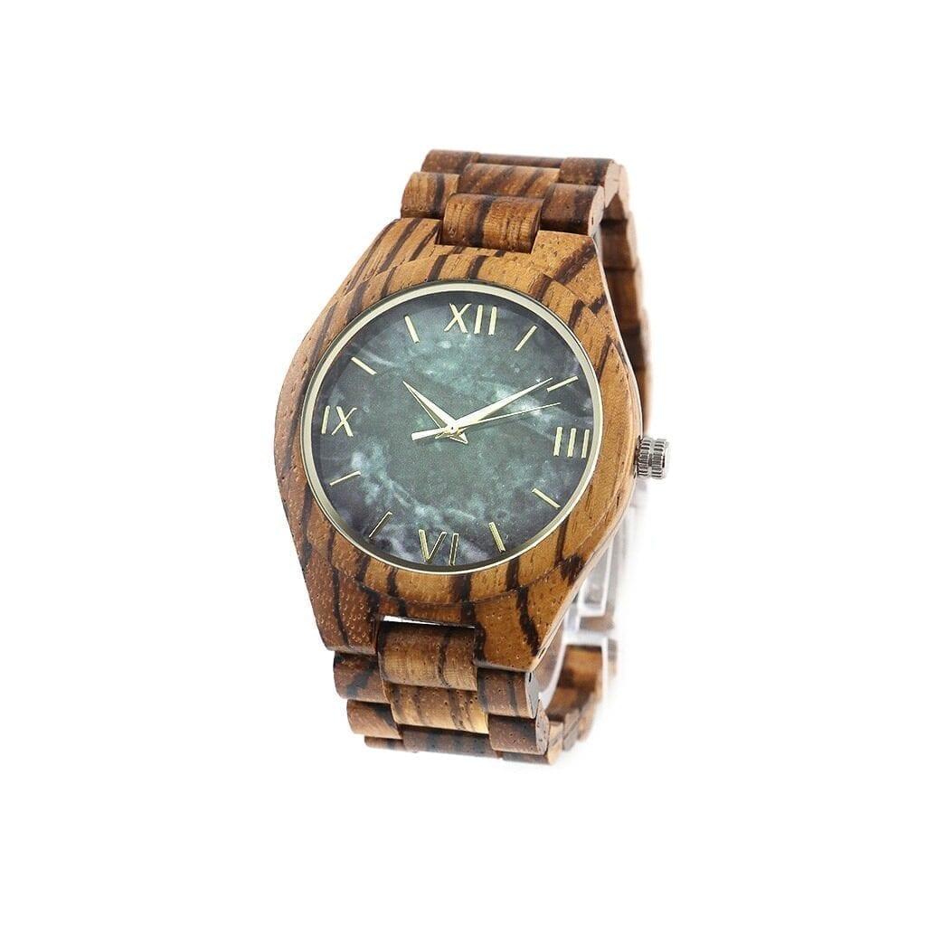 Reloj con correa madera marmol