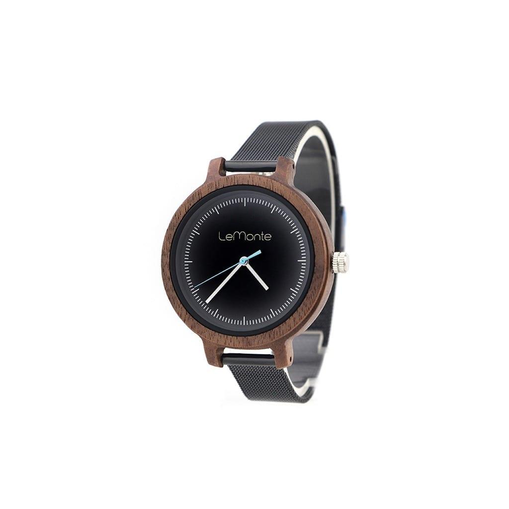 Reloj de madera con correa de metal