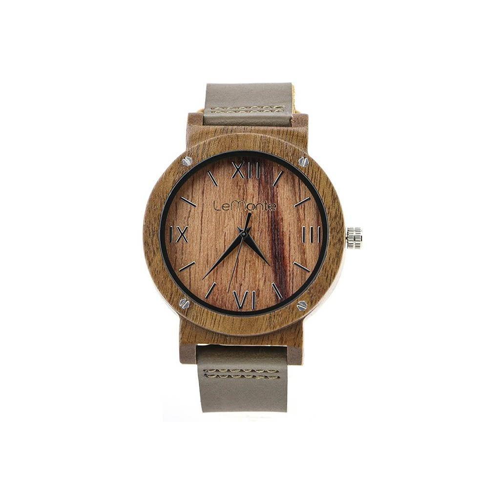 Reloj Lemonte madera correa cuero