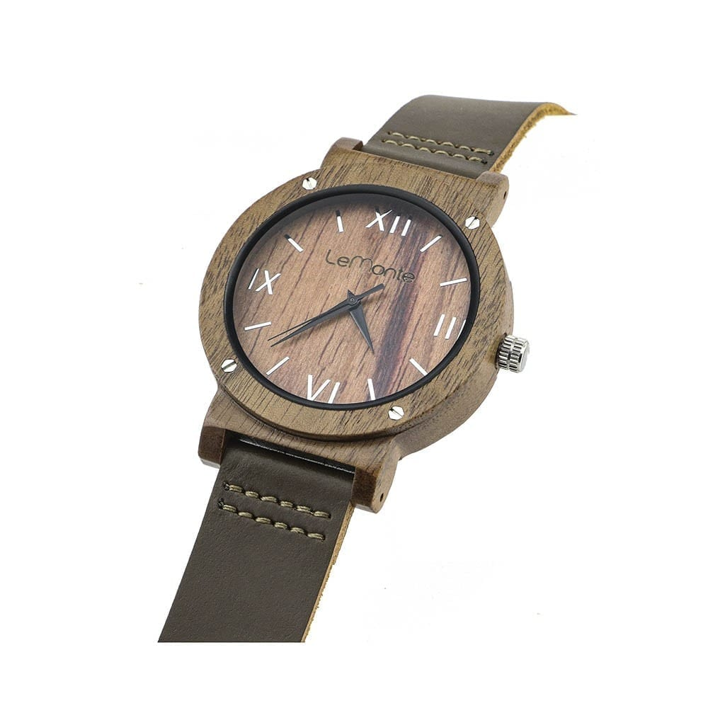 Reloj de madera hombre correa piel