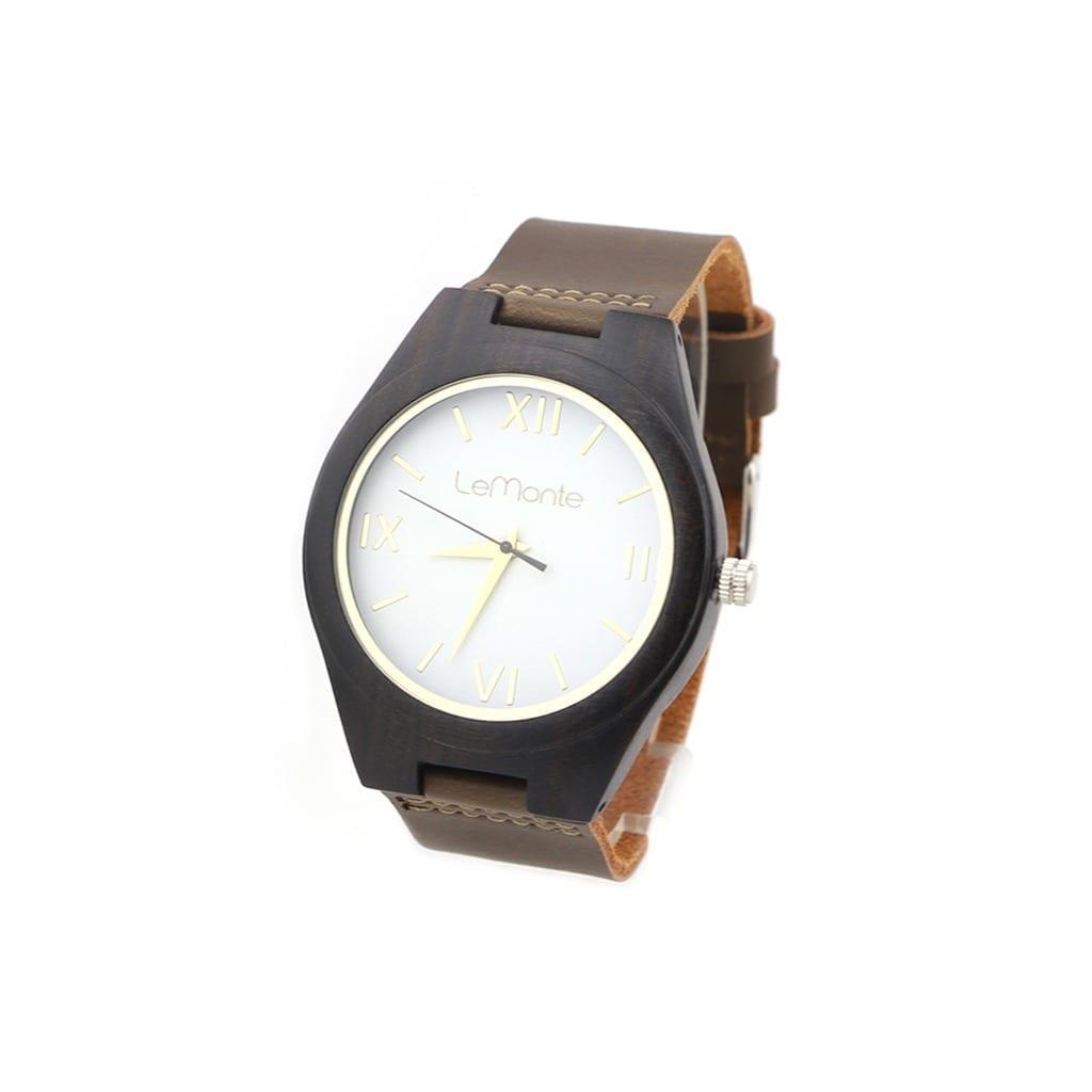 Reloj de madera con esfera blanca