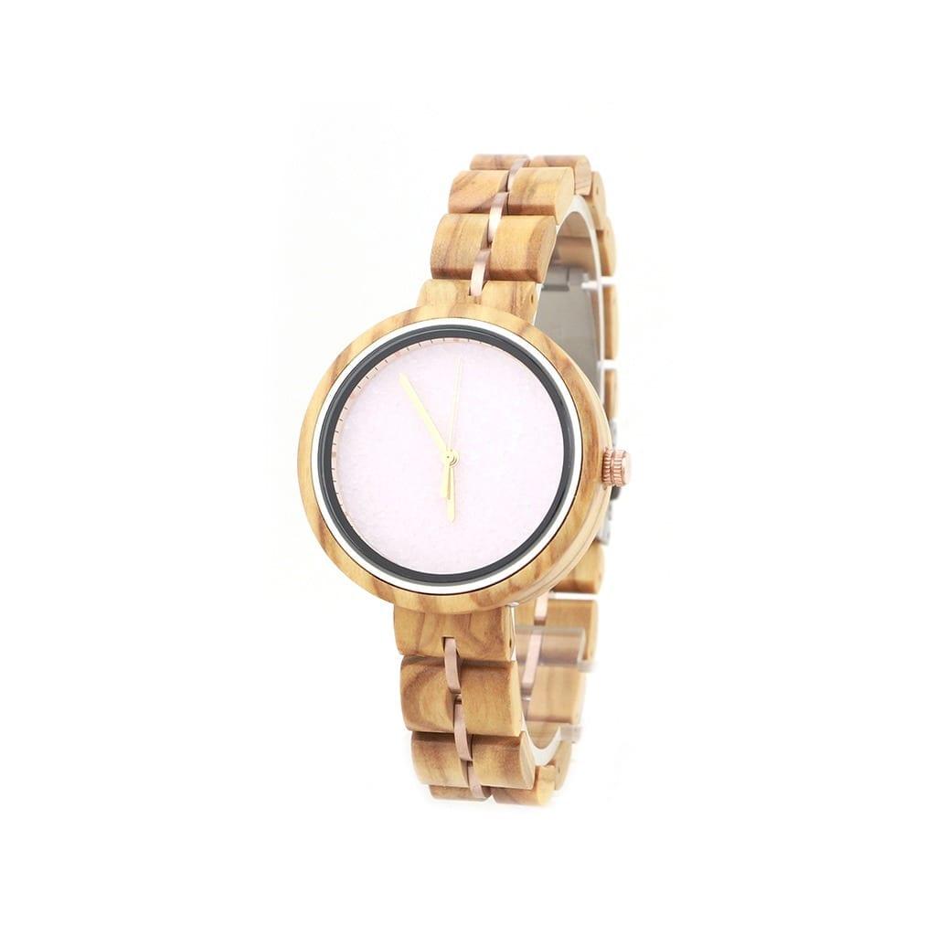 Reloj de madera y metal mujer