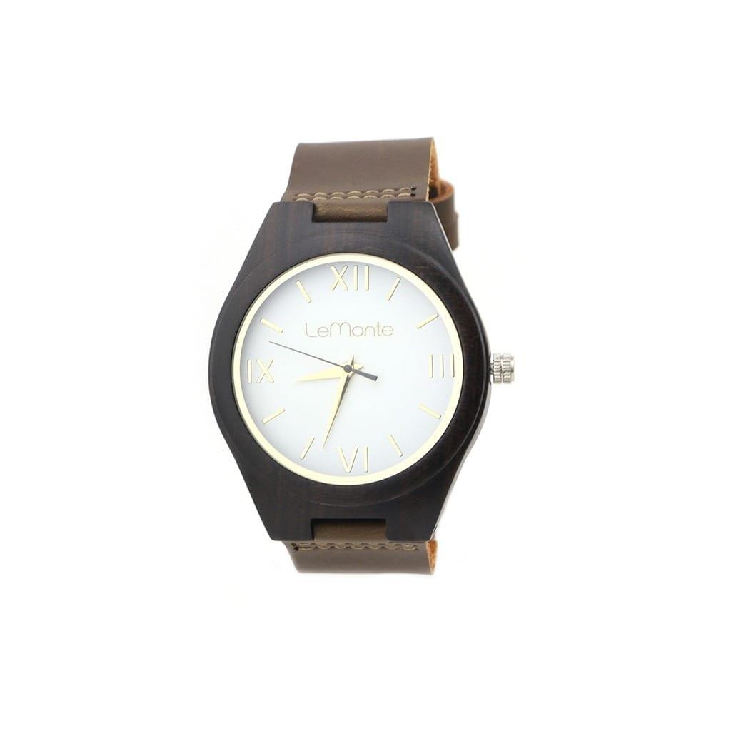 Reloj madera con esfera blanca