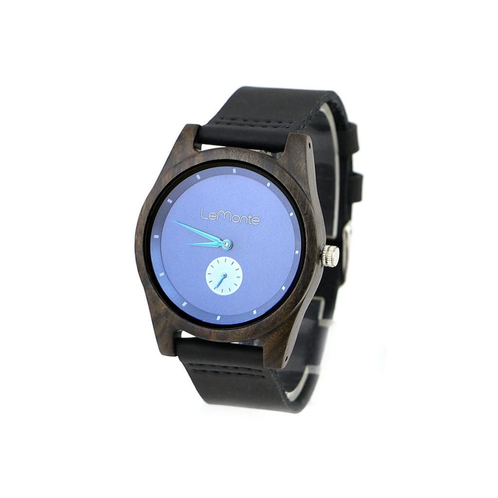 Reloj azul de madera pulsera