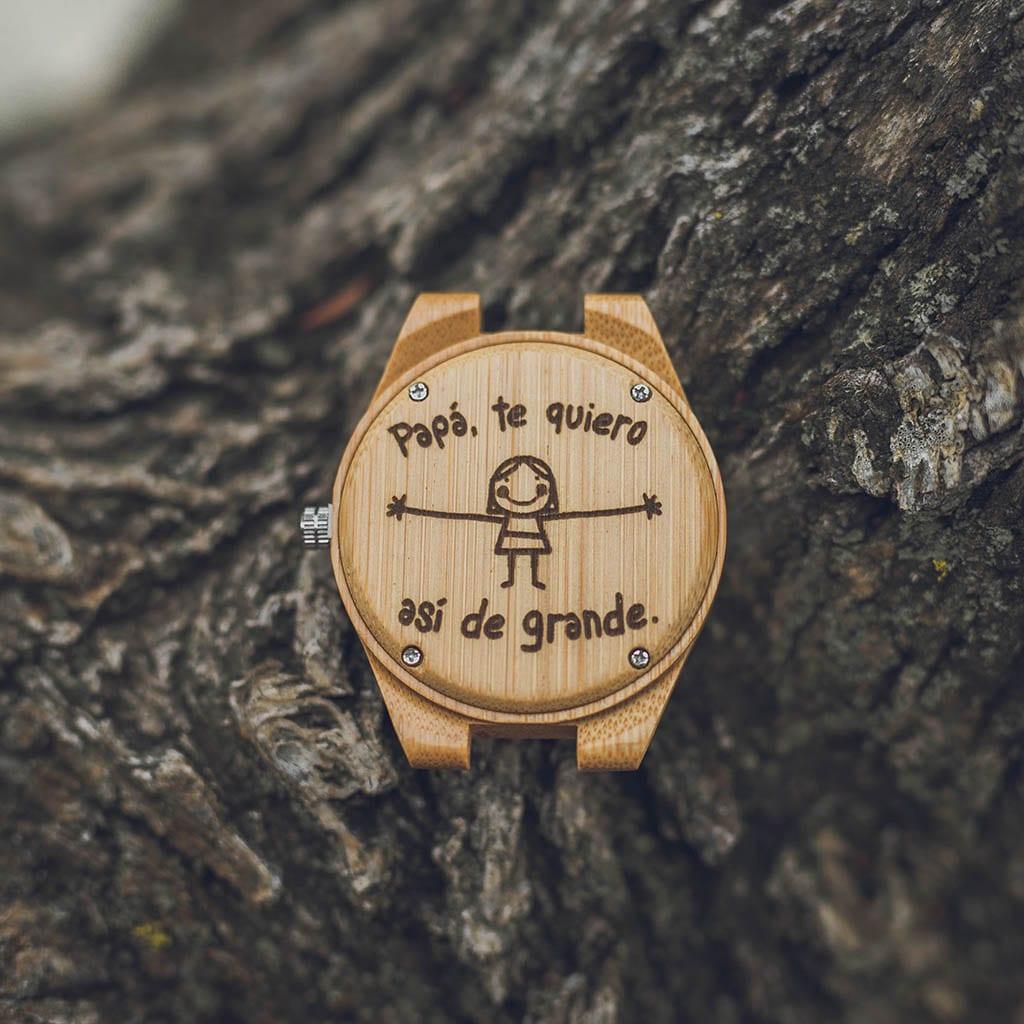 Reloj bambú personalizado