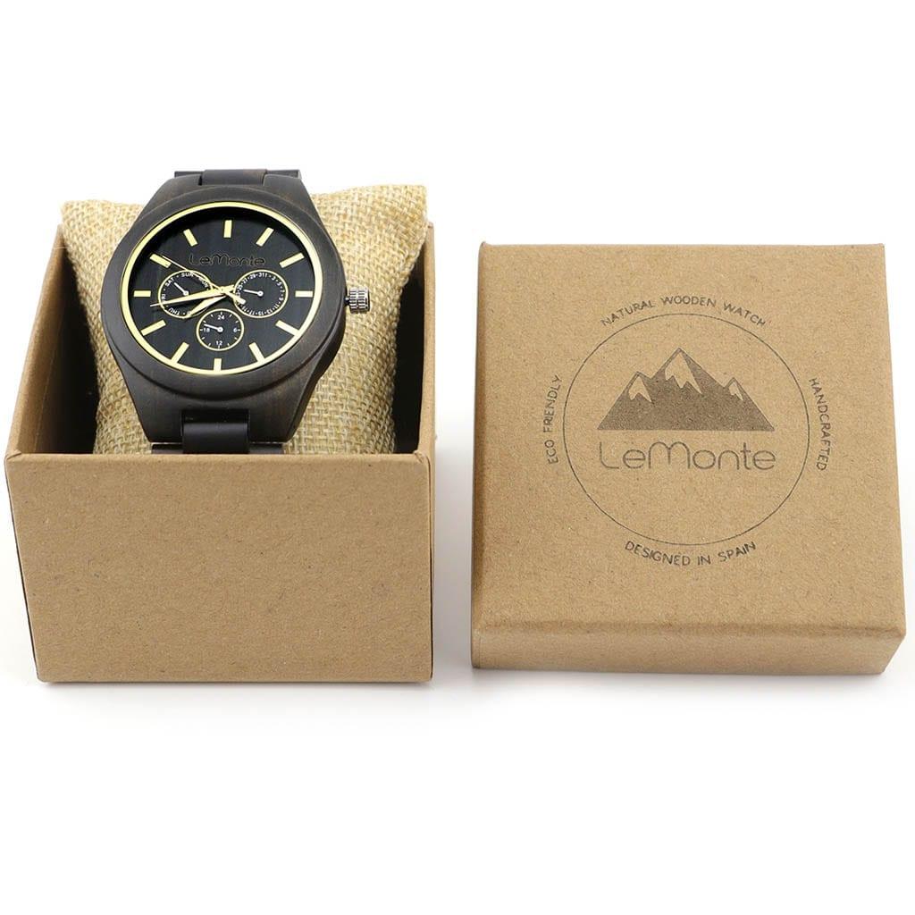 Reloj correa madera en caja