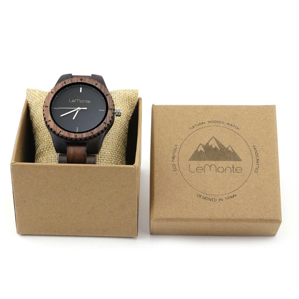 Reloj de madera en caja de carton