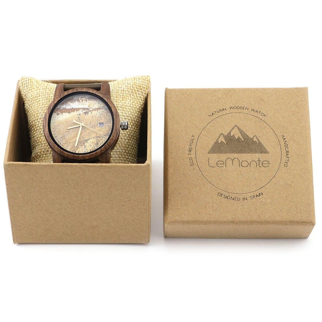 Reloj madera Atlas en caja