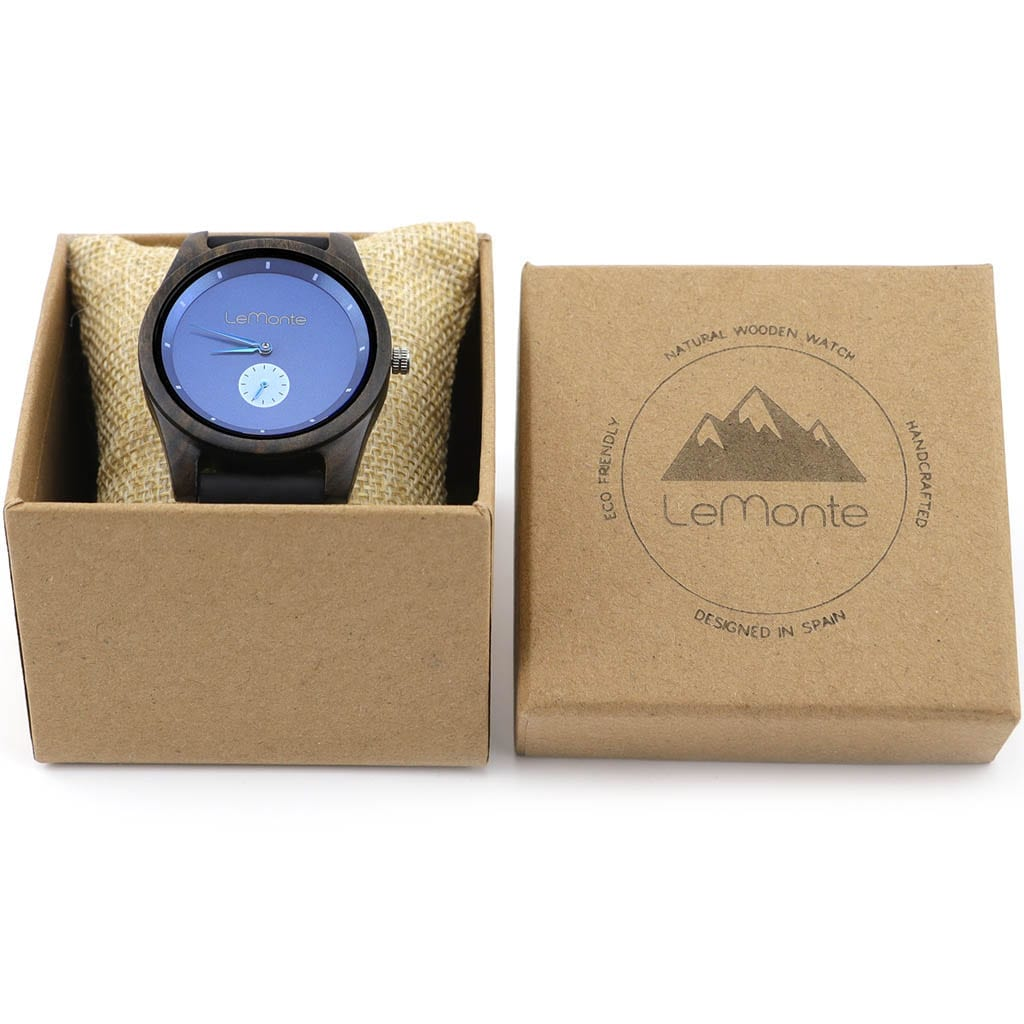 Reloj madera azul en caja