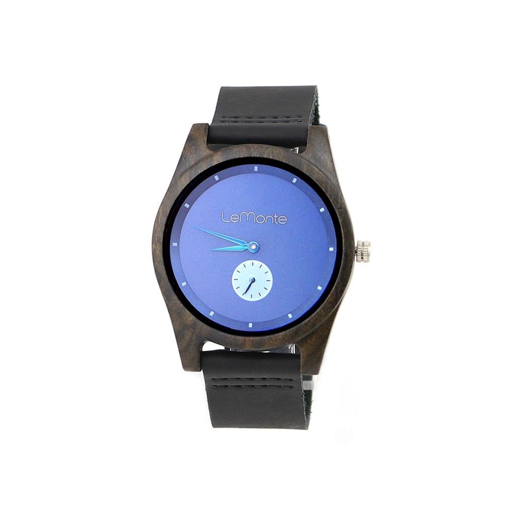 Reloj madera esfera azul