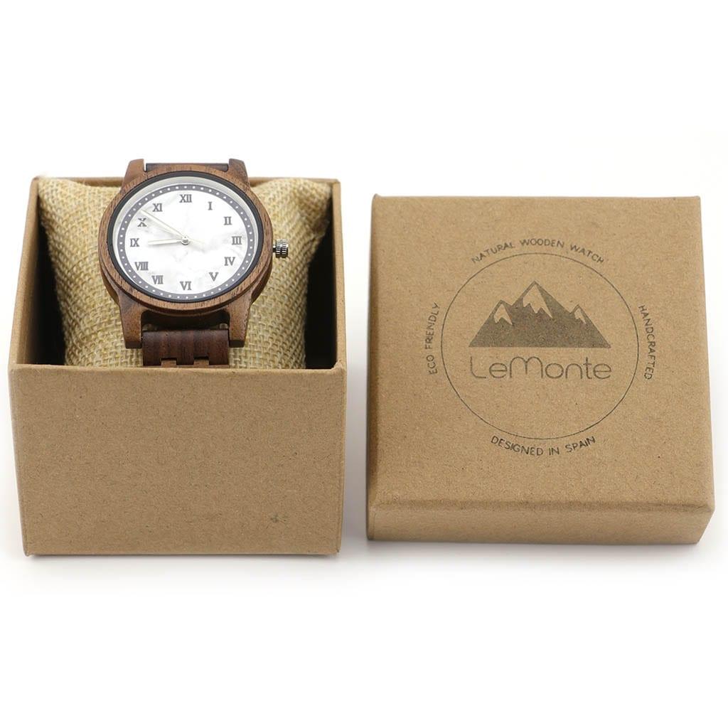 Reloj madera y mármol en caja