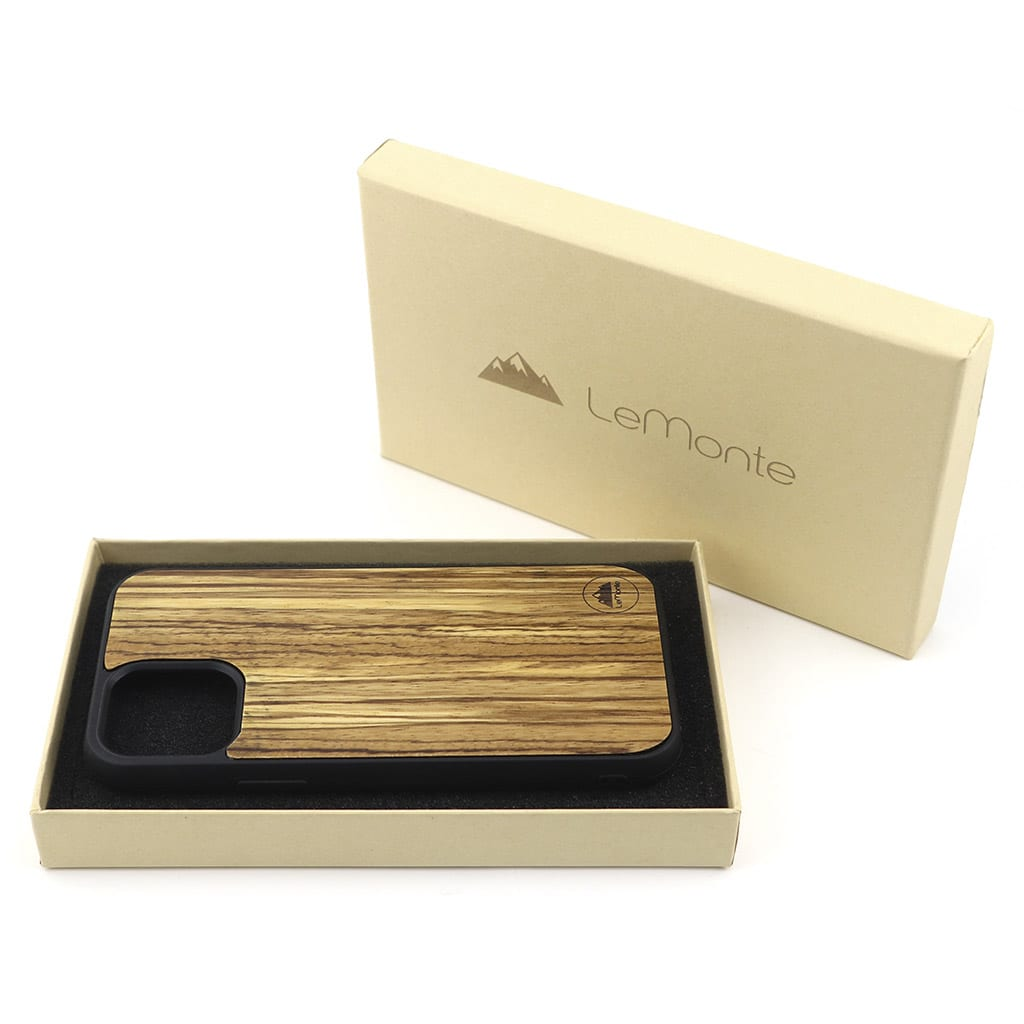 Carcasa iphone 12 de madera de zebrano