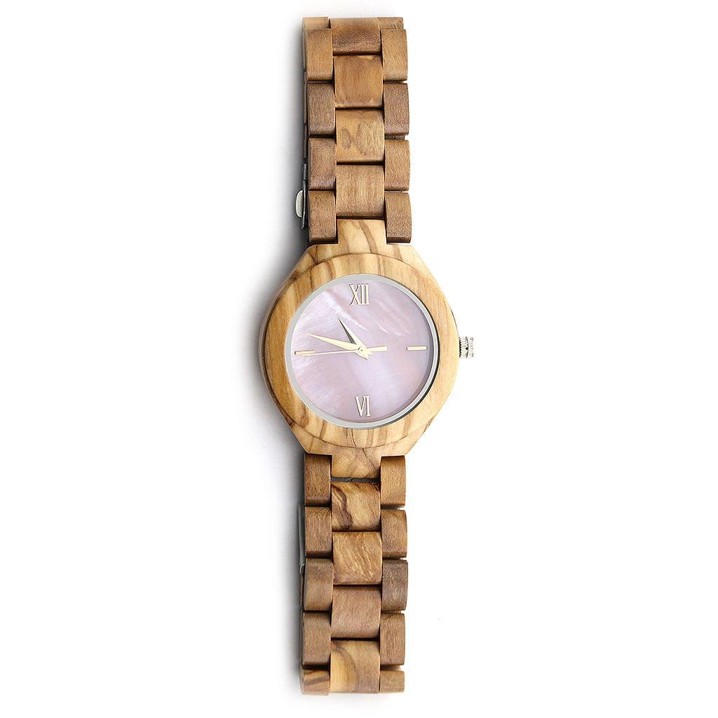 Reloj con correa de madera para mujer