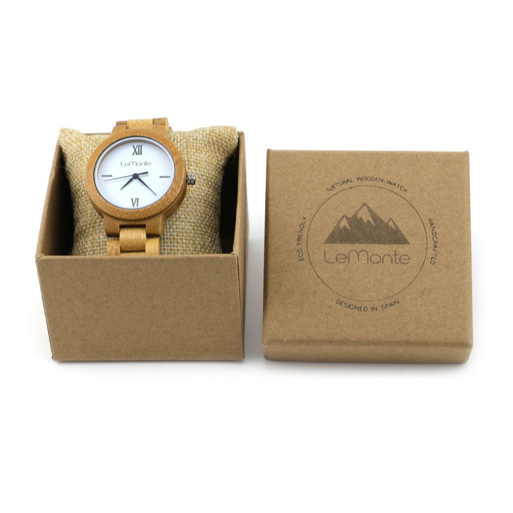 Reloj de bambú con pulsera de madera