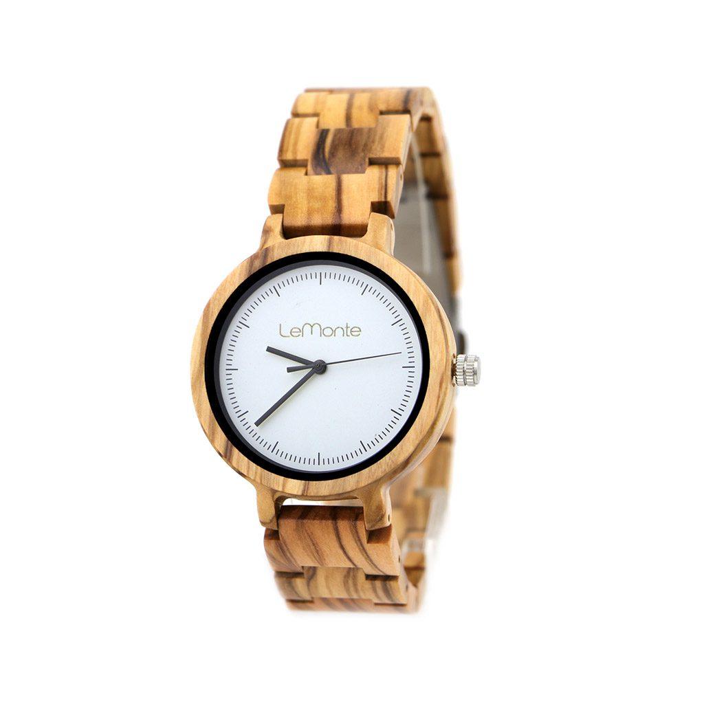 Reloj en madera de olivo
