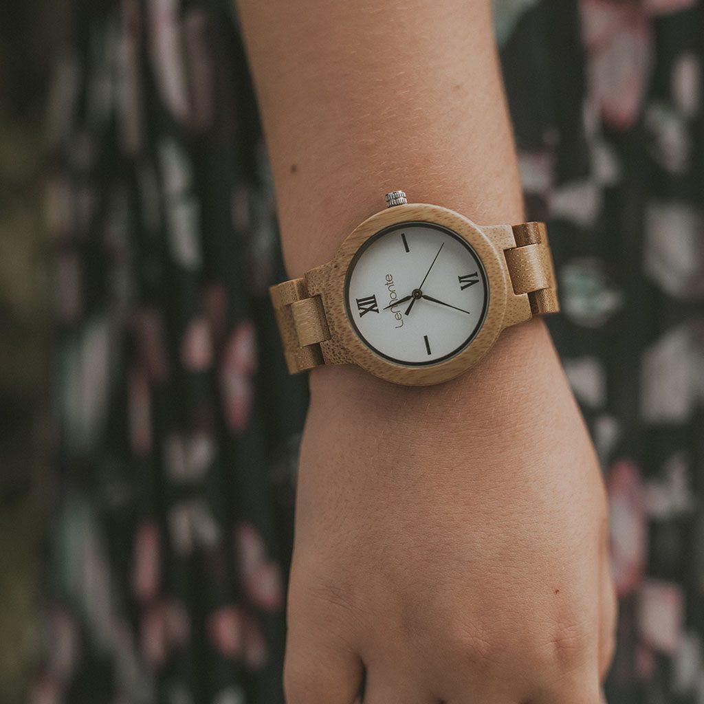 Reloj de bambu para mujer
