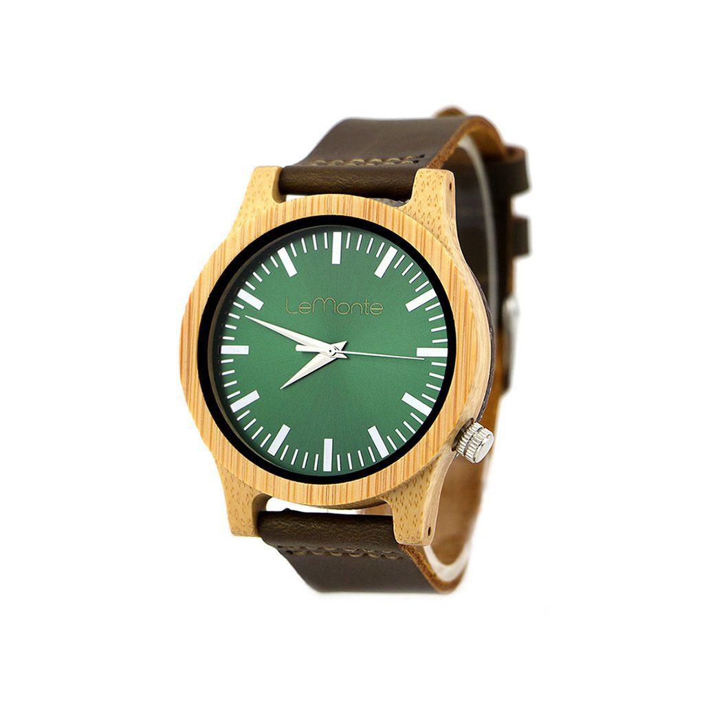 Reloj de bambú verde
