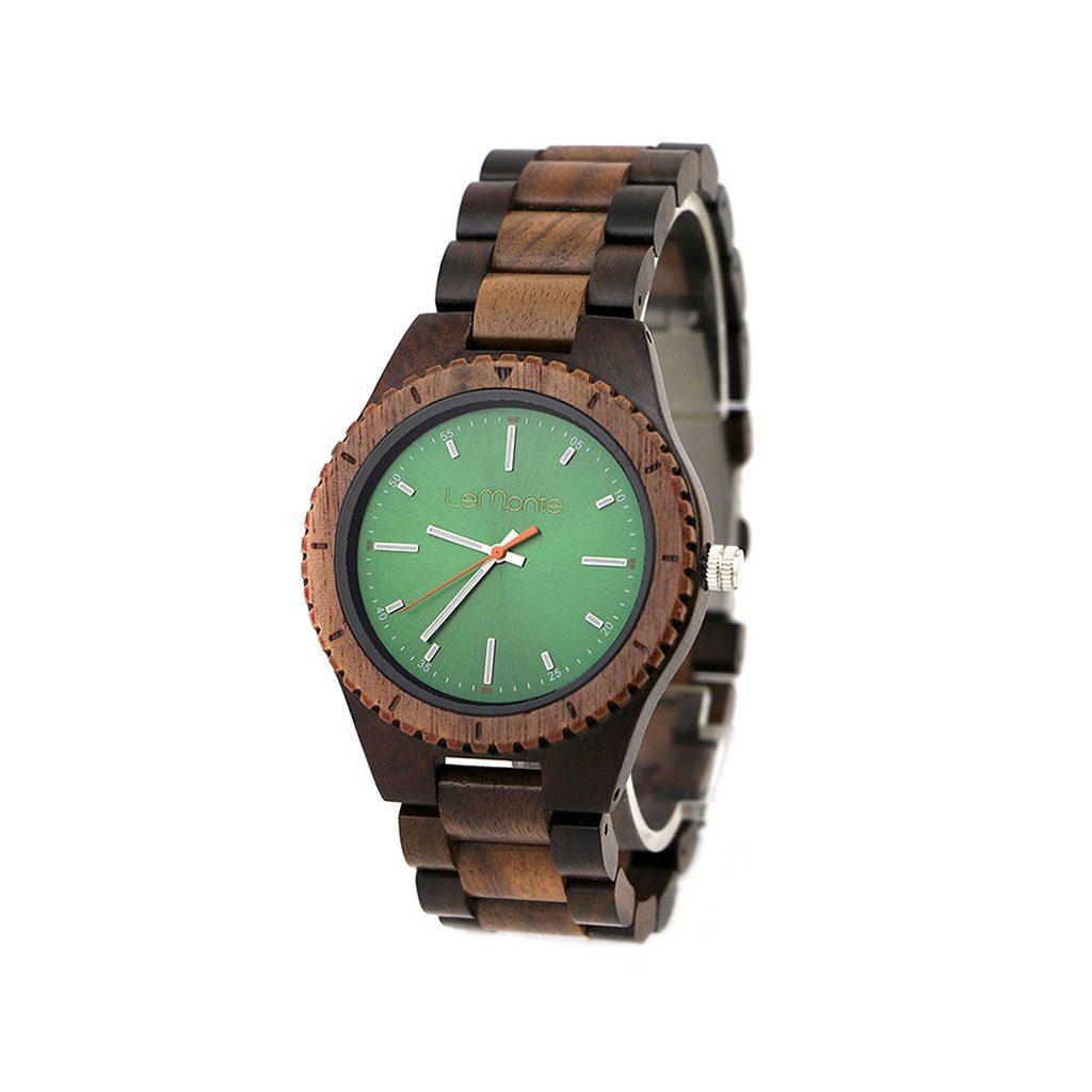 Reloj verde con pulsera de madera